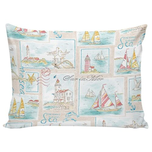 Комплект наволочек Сказка Морской пейзаж на молнии, перкаль 70 х 70 см бежевый/голубой