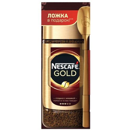 Кофе растворимый Nescafe Gold с молотым кофе подарочный набор с ложкой, 95 г