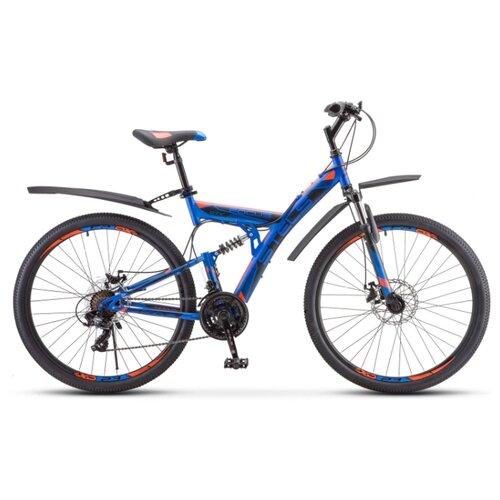 """Горный (MTB) велосипед STELS Focus MD 21-sp 27.5 V010 (2020) синий/неоновый красный 19"""" (требует финальной сборки)"""