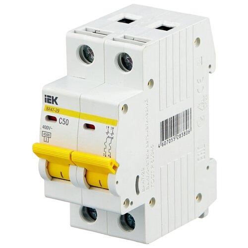 Автоматический выключатель IEK ВА 47-29 2P (C) 4,5kA 50 А автомат iek 3п c 40а ва 47 100