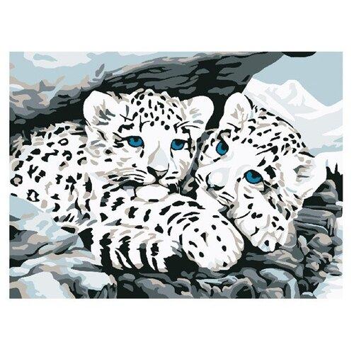 Купить Molly Картина по номерам Снежные барсы 15х20 см (G-S002), Картины по номерам и контурам