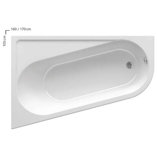 Ванна RAVAK Chrome 170x105 без гидромассажа акрил угловая левосторонняя ванна ravak chrome 170x75 без гидромассажа акрил