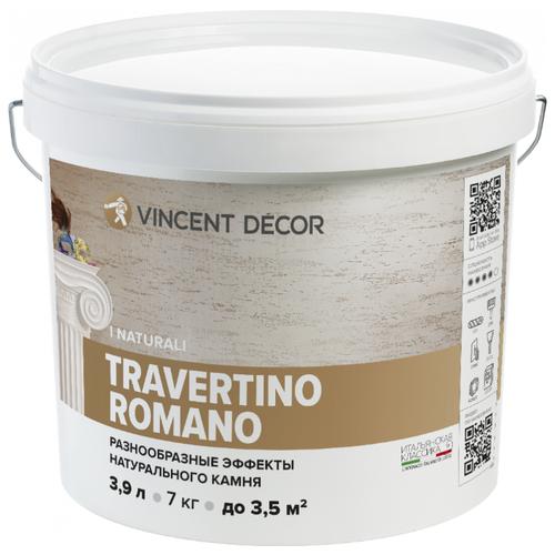 Декоративное покрытие Vincent Decor Travertino Romano белый 7 кг