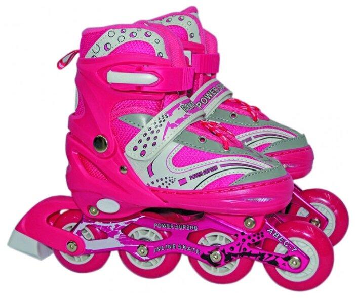 Детские роликовые коньки 1 TOY 1TOY колеса со светом, розовый, размер L (38-41)