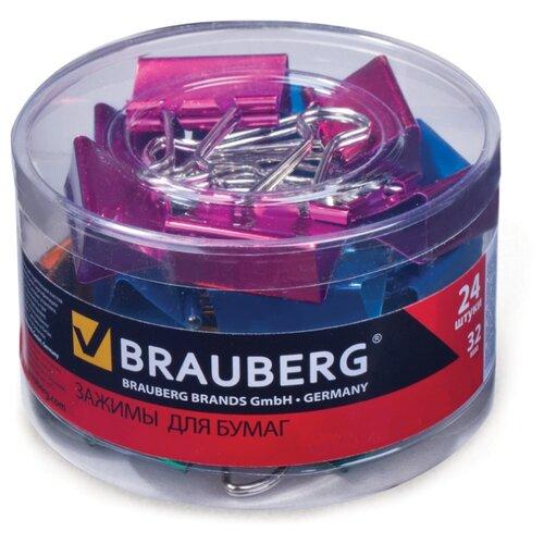 Купить BRAUBERG Зажимы для бумаг 223506 32 мм (24 шт.) металлик, Скрепки, кнопки