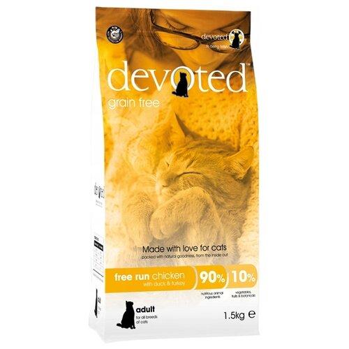 Сухой корм для кошек Devoted беззерновой, с курицей, с уткой, с индейкой 1.5 кг