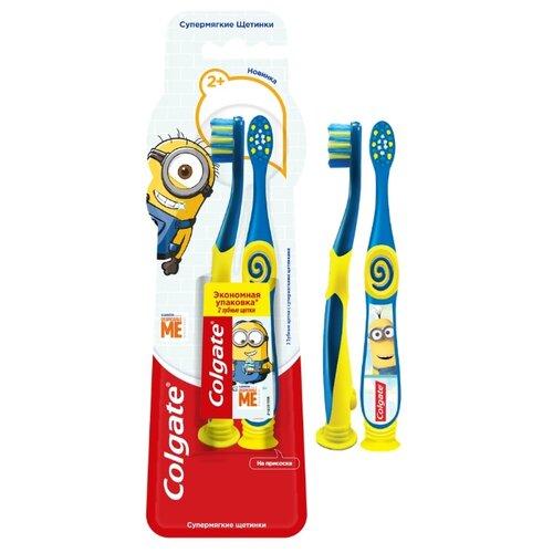 Набор щеток Colgate Миньоны 2+, 2шт, синий зубная щетка colgate миньоны 2 синий