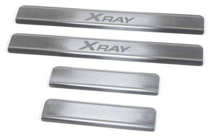 Накладки на внешние пороги для Lada X-Ray (2016 - н.в.) Lada X-Ray Cross (2018 - н.в.) RIVAL NP.6008.3 (комплект 4 шт.)