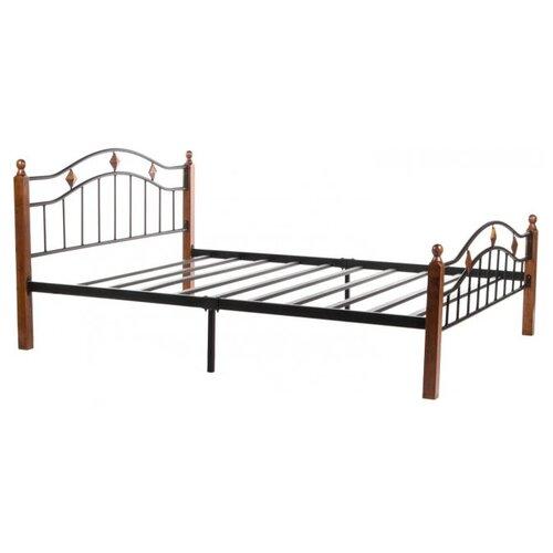 Кровать TetChair AT-126 двуспальная, размер (ДхШ): 210х165 см, спальное место (ДхШ): 200х160 см, каркас: массив дерева, цвет: черный/коричневый