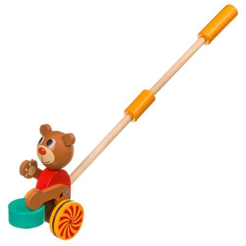 Купить Каталка-игрушка BONDIBON Мишка (ВВ4015) коричневый/красный/зеленый, Каталки и качалки