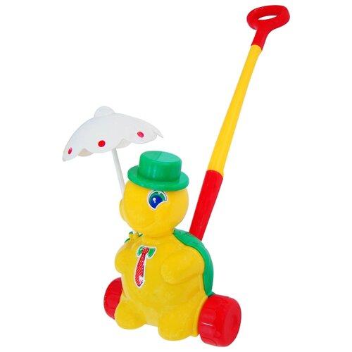 Каталка-игрушка Molto Черепашка Тортила с ручкой (3637) со звуковыми эффектами желтый/красный/зеленый каталка игрушка molto утёнок с ручкой 7925 со звуковыми эффектами желтый зеленый красный