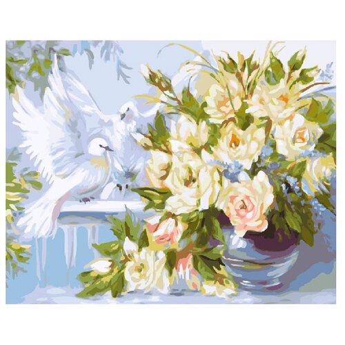 ВанГогВоМне Картина по номерам Цветы и голуби, 40х50 (ZX 21024)Картины по номерам и контурам<br>
