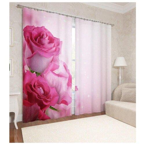 Фотошторы Сирень Блеск роз на ленте (ФШБЛ001-14046) 260 см розовый фотоштора сирень фотошторы спуск к океану