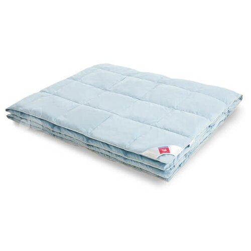 Одеяло Легкие сны КАМЕЛИЯ гусиный пух/тик голубой, полуторное 140*205 см, легкое