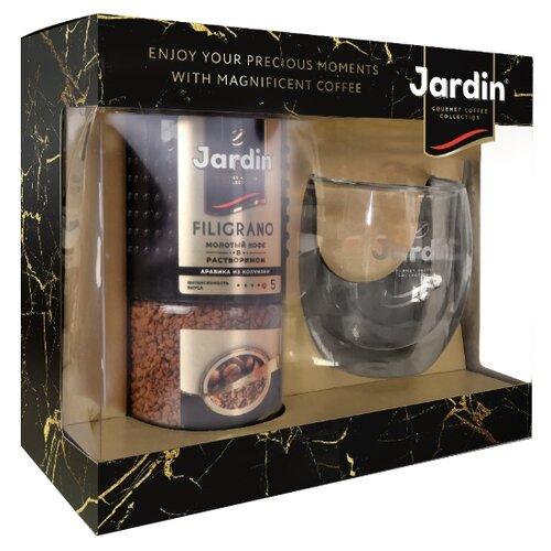 Кофе растворимый Jardin подарочный набор Jardin Filigrano и стеклянная кружка, 95 г фото