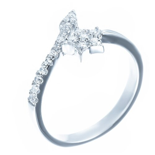 ELEMENT47 Кольцо из серебра 925 пробы с кубическим цирконием ML02631A_KO_001_WG, размер 17