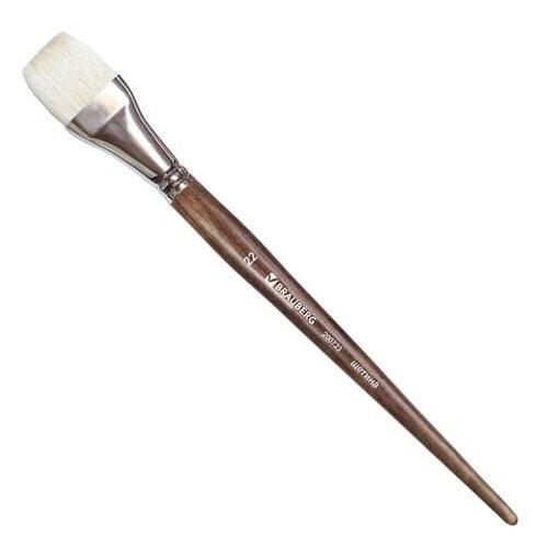 Купить Кисть BRAUBERG Classic №22, щетина, плоская, длинная ручка коричневый, Кисти