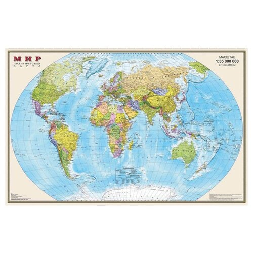 DMB Политическая карта Мира 1:35 матовая ламинация (4607048951545)