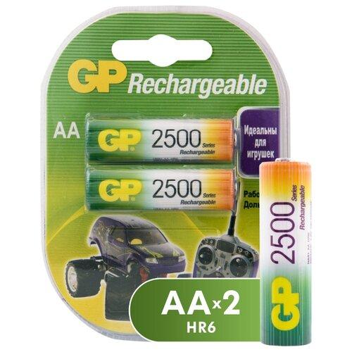 Аккумулятор Ni-Mh 2500 мА·ч GP Rechargeable 2500 series AA 2 шт блистер аккумуляторы smartbuy sbbr 2a02bl2500 2500 mah aa 2 шт