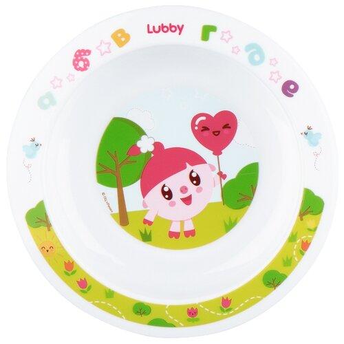 Тарелка Lubby на присоске Малышарики 400 мл (20916) розовый