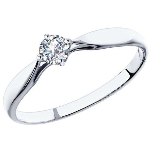 SOKOLOV Кольцо с бриллиантом из белого золота 1011501, размер 16