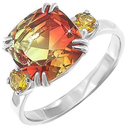 POKROVSKY Серебряное кольцо с жёлто-зеленым ювелирным стеклом и с жёлтыми фианитами 1100883-00355, размер 20 серебряное кольцо с фианитами и муранским стеклом лазурного цвета