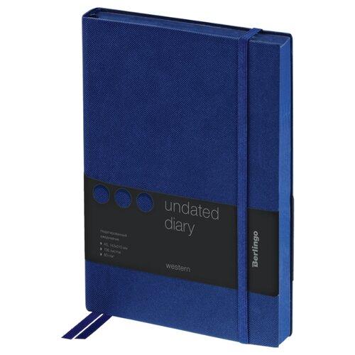 Купить Ежедневник Berlingo Western недатированный, искусственная кожа, А5, 136 листов, синий, Ежедневники, записные книжки