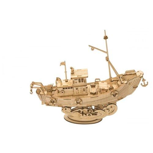 Купить 3D деревянный конструктор Robotime Рыболовецкое судно, Сборные модели
