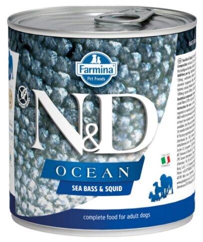 Корм для собак Farmina N&D Ocean сибас, кальмар 285г