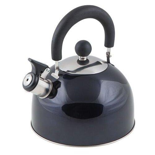 Чайник со свистком, нержавеющая сталь, 2.15 л, серия Holiday, синий металлик, PERFECTO LINEA (диаметр 19 см, высота 16 см, общий объем изделия 2,5л) (