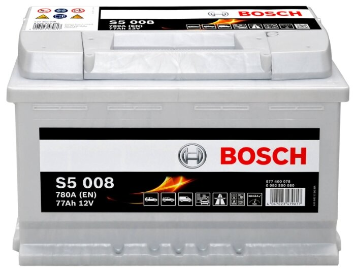 Аккумулятор автомобильный Bosch Silver Plus S5008 77 А/ч 780 A обр. пол. Евро авто (278x175x190)