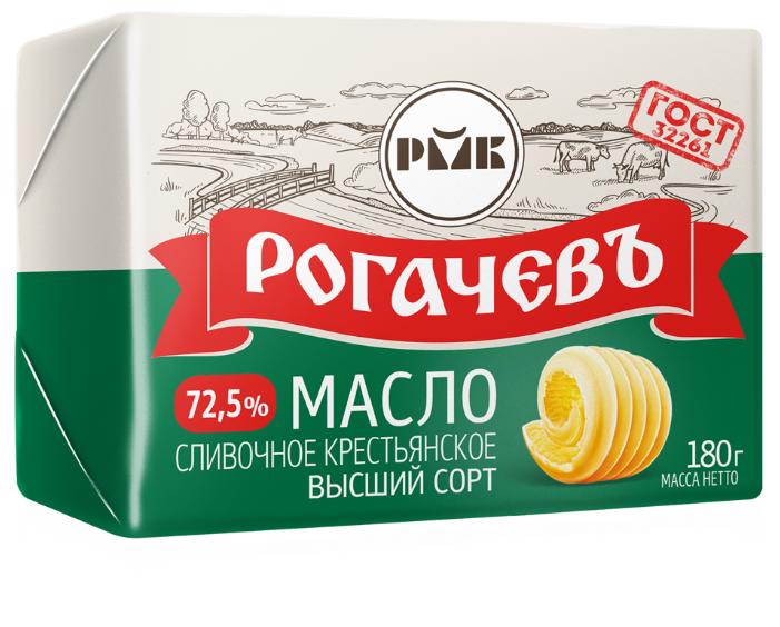 Рогачевский молочноконсервный комбинат Масло сливочное Крестьянское 72.5%, 180 г
