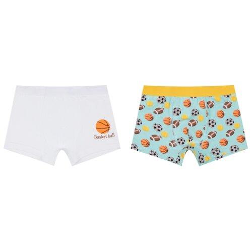 Купить Трусы Leader Kids 2 шт., размер 146-152, белый/зеленый, Белье и пляжная мода