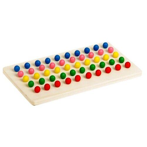 Купить Мозаика деревянная Лесная мастерская 5 цветов, 50 элементов, шарики d 0, 7 см (2326886)