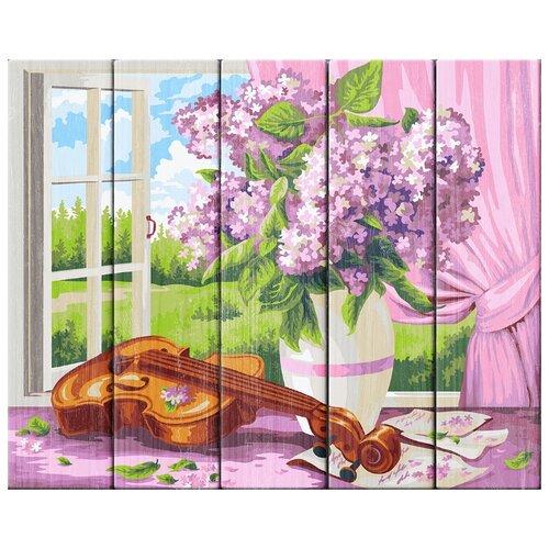 Купить Набор для раскрашивания по номерам (по дереву) Сирень и скрипка. Жанна Когай , 40х50см, ФРЕЯ, PKW-1 60, Картины по номерам и контурам
