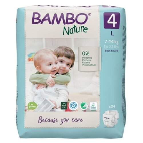 Купить BAMBO подгузники Nature 4 (7-14 кг) 24 шт., Подгузники