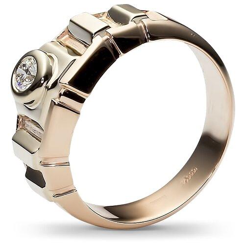Эстет Кольцо с 1 бриллиантом из комбинированного золота 32Т660347, размер 20 фото