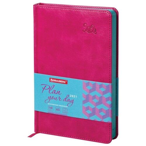 Купить Ежедневник BRAUBERG Rainbow датированный на 2021 год, искусственная кожа, А5, 168 листов, розовый, Ежедневники, записные книжки