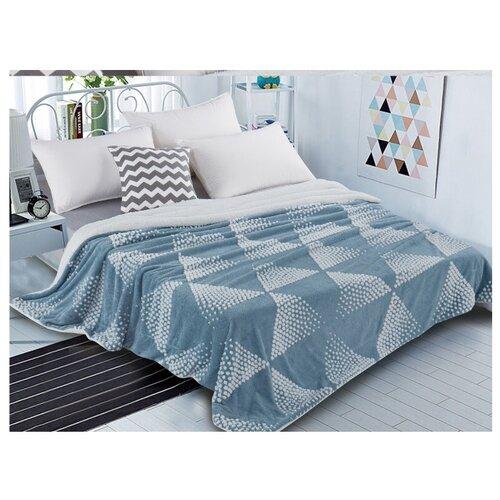 Плед Cleo Fluffy 200x220 см, белый/голубой плед cleo fluffy 200x220 см белый серый