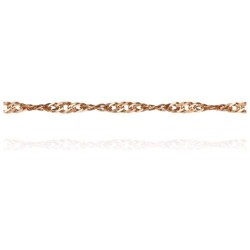 АДАМАС Цепь из золота плетения Панцирь одинарный ЦП225СзА2-А51, 40 см, 1.56 г