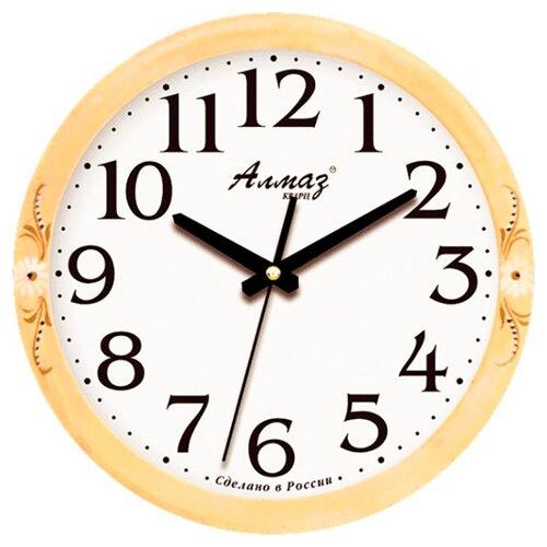 Часы настенные кварцевые Алмаз E19 бежевый/белый часы настенные кварцевые алмаз p34 бежевый белый