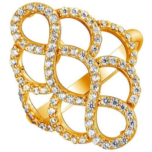 Эстет Кольцо с 86 фианитами из серебра с позолотой 01К1511450А, размер 16.5 ЭСТЕТ