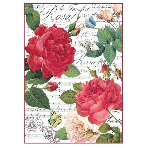 Купить Бумага рисовая мини - формат Красные розы и музыка 21 х 29, 7 см (A4), Stamperia, Карты, салфетки, бумага