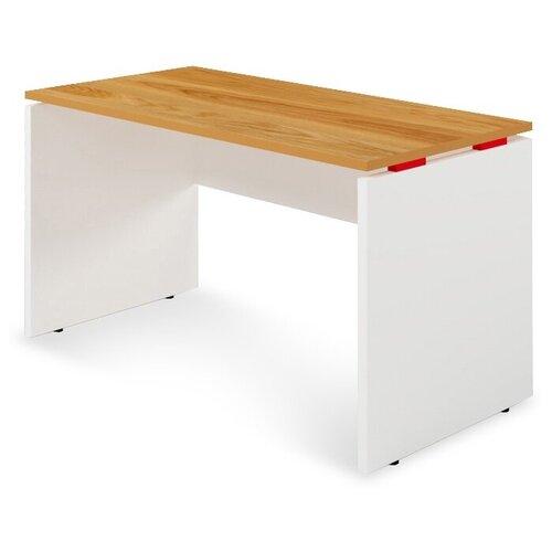 Письменный стол Zebrano SP1-33-11-8, ШхГ: 120х60 см, цвет: дуб/белая кромка/красные проставки