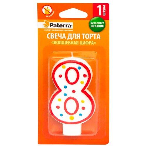 Paterra Свеча для торта Волшебная цифра 8 белый/красный