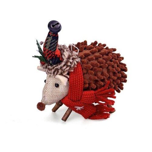 Фигурка Новогодняя Сказка Ежик новогодний 15 см (973014) коричневый/красный