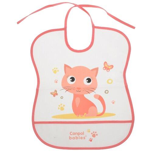 Canpol Babies Нагрудник Soft Plastic bib, 1 шт., расцветка: розовый/кошка elodie нагрудник трикотажный 1 шт расцветка sandy stripe
