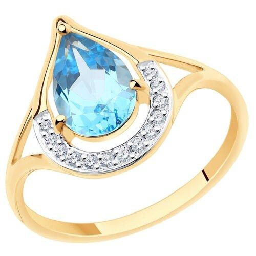SOKOLOV Кольцо из золота с топазом и фианитами 715795, размер 17