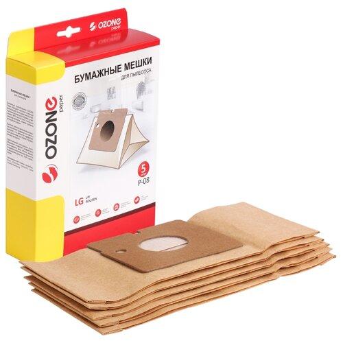 Фото - Ozone Бумажные пылесборники P-08 5 шт. topperr бумажные пылесборники sm5 5 шт