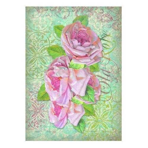 Купить Бумага рисовая мини - формат Старая роза 21 х 29, 7 см (A4) 1 лист, Stamperia, Карты, салфетки, бумага